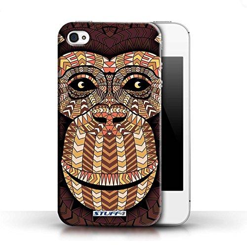 Etui / Coque pour Apple iPhone 4/4S / Singe-Orange conception / Collection de Motif Animaux Aztec