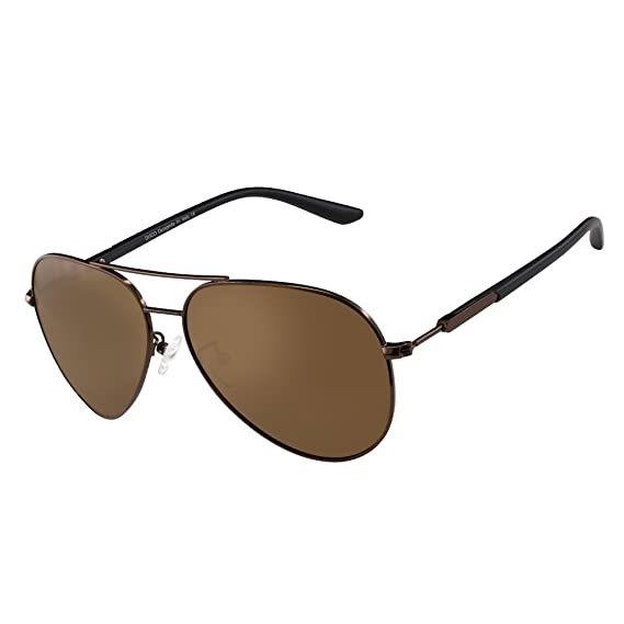5566d7d0ea DUCO Premium Pilot Style Polarized Sunglasses 100% UV protection for Men  Women 3027 (Brown Frame Brown Lens 60)  Amazon.in  Clothing   Accessories
