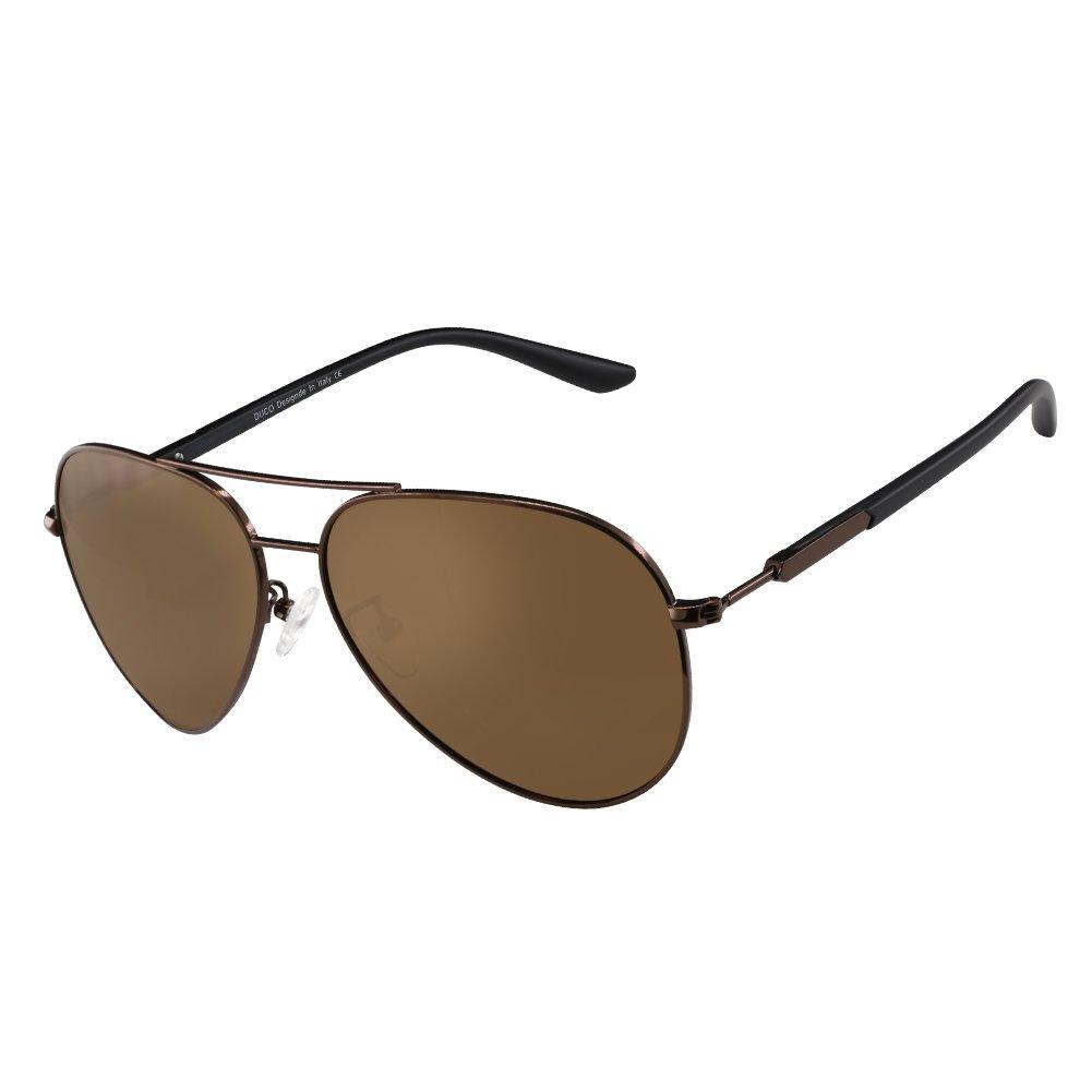 ca23f39db0 DUCO Premium Aviator Style Polarized Sunglasses 100% UV protection for Men  Women 3027 (Brown Frame Brown Lens