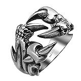 AGOKO Mens Retro Personality Sharp Claw Titanium Steel Ring