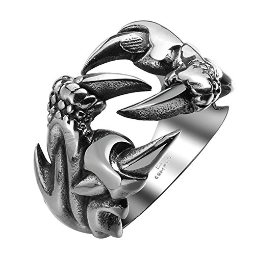 AGOKO Mens Retro Personality Sharp Claw Titanium Steel Ring(Diameter:18.2mm)