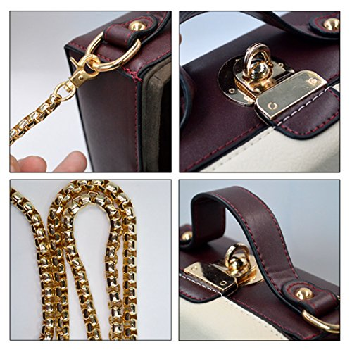 Satchel Handbag Bag 00329 White Sling Box Small Mini Cross Chain Monique Square Beige body Women Tote Fa1B1v