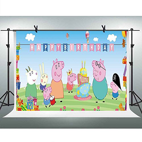 FHZON 10x7ft Animation for Peppa Pig Background Photography Happy Birthday for Child Baby Girl Newborn Backdrop Photo Booth Props Room Mural Banner PFH464