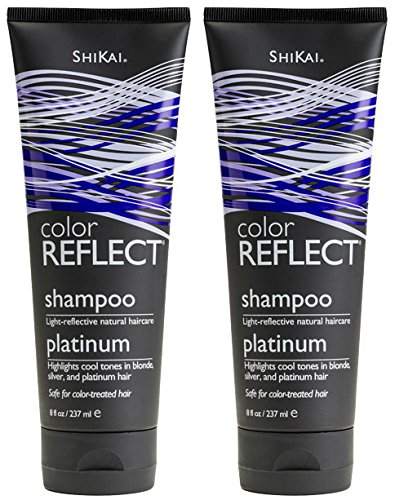 Shikai Blonde Shampoo - ShiKai Color Reflect Platinum Shampoo (Pack of 2) with Blue Malva Flower Extract, Sunflower Extract, and Jojoba Seed Oil, 8 oz.