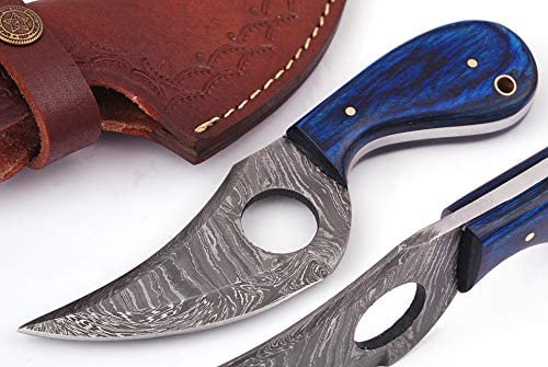 07 Bandle Custom Handmade Hunting Knife Camp Knife Damascus Steel Skinning Knife EDC 7.3 Overall Blue Exotic Wood with Custom Sheathe