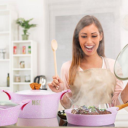 Nonstick Ceramic Frying Pan Induction Stir Fry Pan with Glass Lid Dishwasher safe PFOA Free Aluminum Pans - 9.5 Inch - Pink