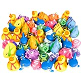 Kidsco Squirt Toys Assortment for Kids - 50 Pieces Water Squirting Animals - Soft Rubber Ducks, Sharks, Frogs, Turtles, Fish for Baby Bath, Summer Pool, Aquarium Decorations, Beach Party Favors