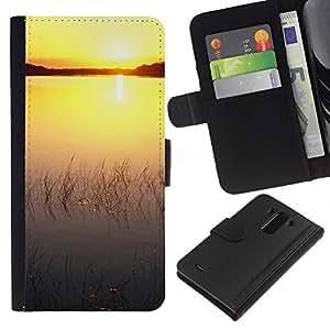 All Phone Most Case / Oferta Especial Cáscara Funda de cuero Monedero Cubierta de proteccion Caso / Wallet Case for LG G3 // Sunset Beautiful Nature 76