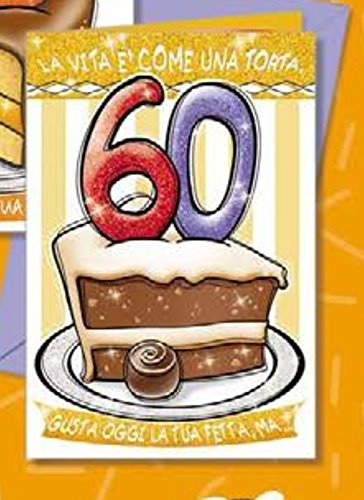 Tarjeta Felicitación cumpleaños 60 años una porción de tarta ...