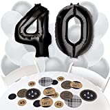 40th Milestone Birthday - Dashingly Aged to Perfection - Confetti and Balloon Birthday Party Decorations - Combo Kit