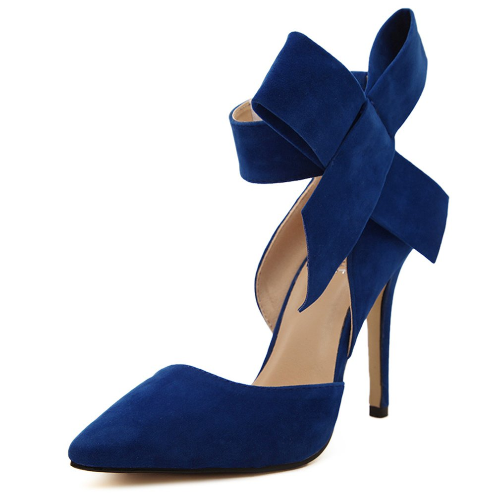Royal bluee fereshte Women's D'Orsay Dress Pumps Pointy Toe Stiletto High Heels with Bowknot
