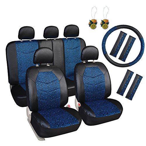 Leader Accessories 17 pcs Auto Car Front and Rear Seat Covers Set Jacquard II Combo Pack Black/Blue,Universal Fit