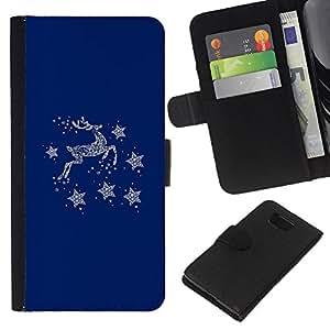 Planetar® Modelo colorido cuero carpeta tirón caso cubierta piel Holster Funda protección Para Samsung ALPHA / SM-G850 / S801 ( Blue Deer Winter Stars Minimalist )