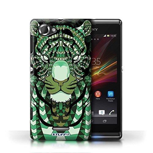 Etui / Coque pour Sony Xperia L/C2105 / Tigre-Vert conception / Collection de Motif Animaux Aztec