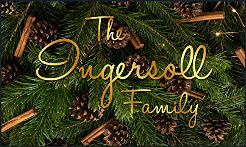 (Pro-Tuff Decals Personalized Holiday Door Mat Christmas Evergreen and Pine Cones Winter Scene with Your Name (36