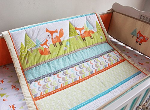 NAUGHTYBOSS Unisex Baby Bedding Set Cotton 3D Embroidery Prairie Fox Quilt Bumper Bedskirt Fitted Blanket 8 Pieces Color Matching by NAUGHTYBOSS (Image #4)