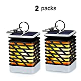 KORJO Solar Lights Outdoor Led Flickering Flame Torch Lights Solar Powered Hanging Lanterns Decorative Landscape Lights for Pathway Garden Deck Holiday Party, Auto On/Off, Waterproof [2 Pack]