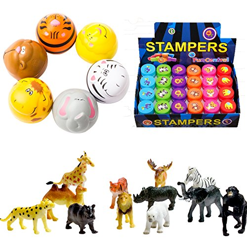 - Fun Central BC827 Zoo Animal Party Pack, Zoo Animals Party Supplies, Zoo Animal Party, Zoo Animal Party Favors - 12 Stress Balls, 24 Safari Stamp and 12 Safari Animal Figures - Assorted