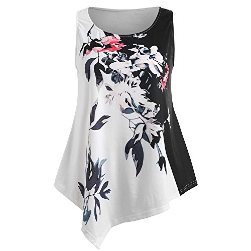 FarJing Clearance Sale Large Size Women Ladies Printing Shirt Sleeveless Casual Tops Blouse (L,White ) (Detailed Printing)