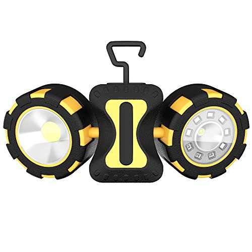 LED Work Light, totobay Dual Head Emergency Work Light with Rotating and Magnetic Design 4 Modes Outdoor Camping Light 6AAA Battery(not Included)