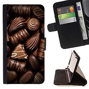 BullDog Case - FOR/LG OPTIMUS L90 / - / chocolate sweet candy brown food /- Monedero de cuero de la PU Llevar cubierta de la caja con el ID Credit Card Slots Flip funda de cuer