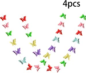 ADLKGG Colorful Butterfly Hanging Garland 3D Paper Bunting Banner Party Decorations Wedding Baby Shower Home Decor Rainbow 4 Pack, 110 inch