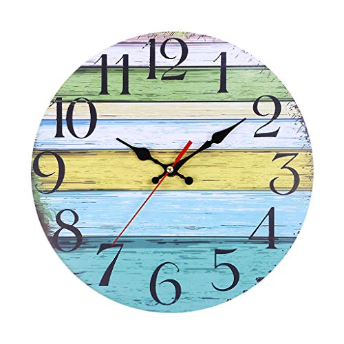 - 2019HoHo Vintage 12 Inch Wall Clock Creative Silent Non Ticking Wooden Decorative Wall Clock for Home Living Room Bedroom Office Decor