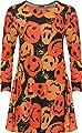 WEARALL Women's Plus Pumpkin Print Halloween Fancy Costume Long Sleeve Swing Dress