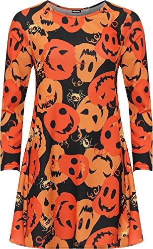 WEARALL Women's Plus Pumpkin Print Halloween Fancy Costume Long Sleeve Swing Dress - Orange - US 18-20 (UK 22-24)