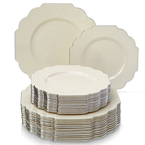 DELUXE DISPOSABLE 24 PC DINNERWARE SET | 12 Dinner Plates and 12 Dessert Plates | Durable Plastic Dishes | Elegant Fine China Look | for Upscale Wedding and Dining (Baroque-Ivory) ()