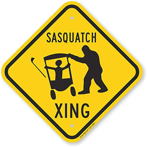 """SmartSign Aluminum Sign, Legend """"Sasquatch Xing"""" with Graphic, 12"""" square, Black on Yellow"""
