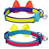 Blueberry-Pet-Classic-Solid-Adjustable-Breakaway-Cat-Collar-with-Bell-and-Bow-Tie