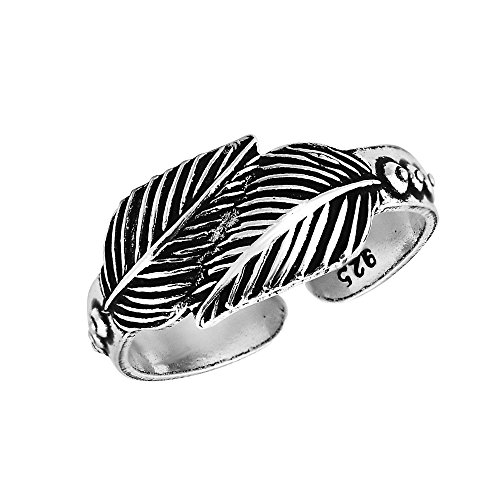 AeraVida Loving Nature Double Leaf or Feather Wrap .925 Sterling Silver Toe Ring or Pinky Ring