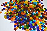 LDGJ 300g/Pack Transparent Bright Mixed Color Tumbled Stained Glass Mosaic Tiles Home Decoration