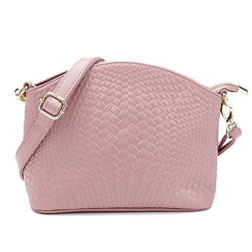 SEALINF Women's Genuine Leather Handbag Woven Shoulder Bag Cowhide Crossbody (pink)