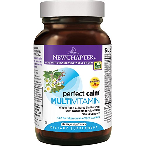 New Chapter Perfect Calm - Daily Multivitamin for Stress & Mood Support with B Vitamins + Holy Basil + Lemon Balm + Organic Non-GMO Ingredients - 144 Count
