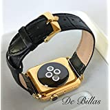 24K Gold 42MM Apple Watch SERIES 2 with Black Alligator Grain Band ROLEX Buckle