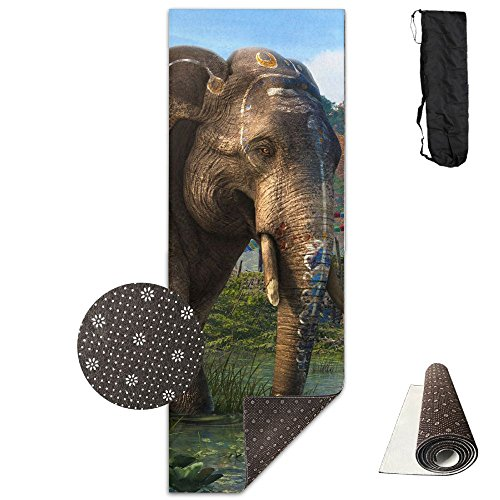 Gorgeously Non Slip Yoga Mat Elephant In River Premium Printed 24 X 71 Inches Great For Exercise Pilates Gymnastics Carrying Strap]()