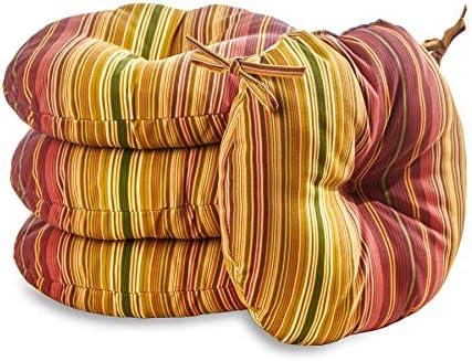 South Pine Porch AM6816S4-KINNABARI Kinnabari Stripe 15-inch Round Outdoor Bistro Chair Cushion - the best outdoor chair cushion for the money