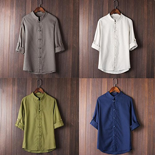 a8cec3c6d ... Inverlee-Mens Classic Chinese Style Kung Fu Shirt Tops Tang Suit 3/4  Sleeve ...