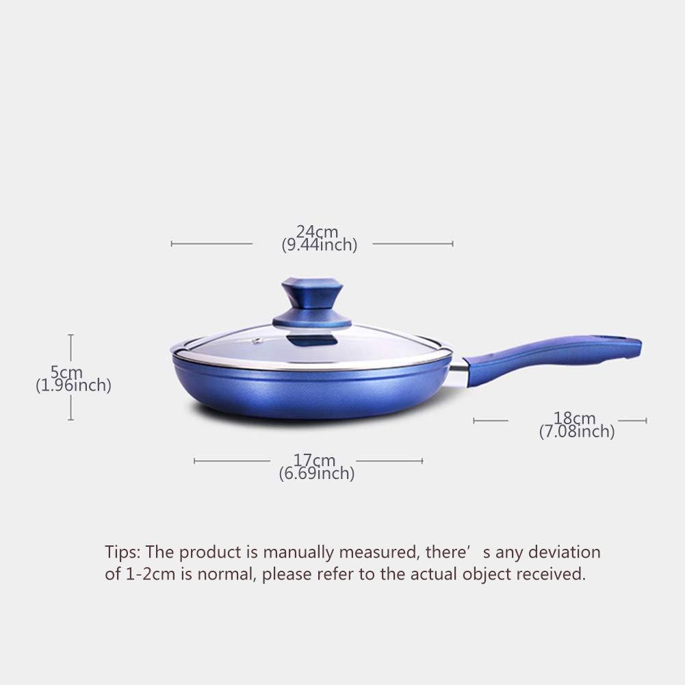Sartén Antiadherente, con asas, Utensilios de cocina de aluminio Todas las placas Tecnología de diamante de calidad alimentaria Revestimiento,Blue,24cm: ...