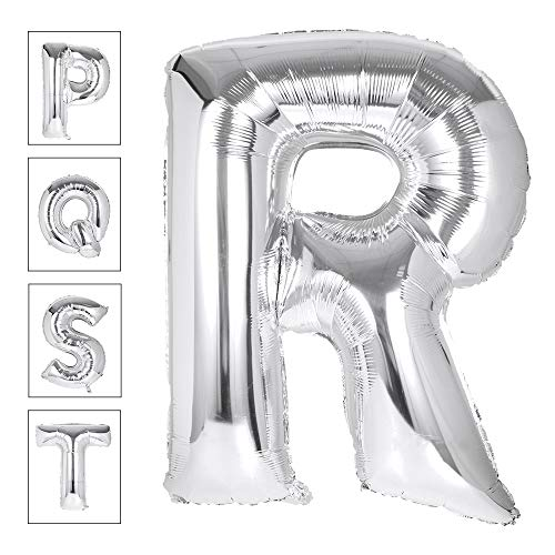 Lovne 40 Inch Jumbo Silver Alphabet R Balloon Giant Prom Balloons Helium Foil Mylar Huge Letter Balloons A to Z for Birthday Party Decorations Wedding Anniversary]()