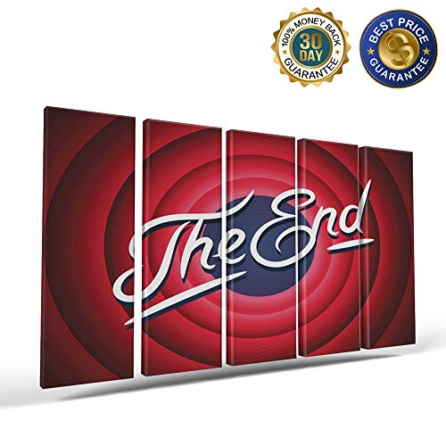 5 Panels Canvas Print Wall Art Movie Ending Slogan The End Wall Decor Pictures for Living Room Modern Artwork Stretched and Framed Ready to Hang 8x24inch ()