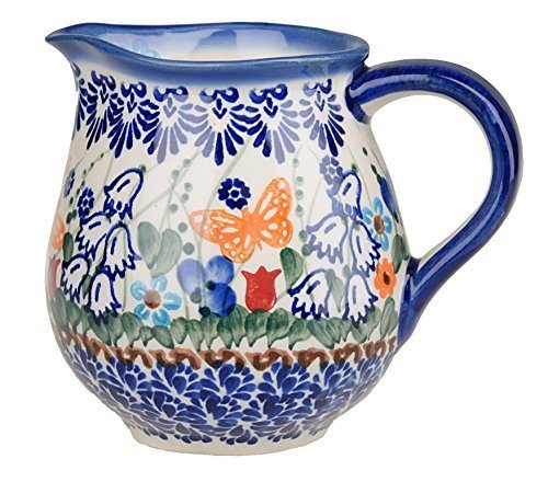 Classic Boleslawiec Pottery Hand Painted Ceramic Milk, Cream Jug 250ml (Hand Painted Jug)