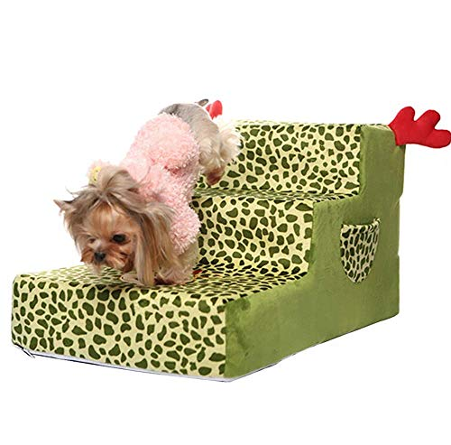 (XIANK-UA Pet Stair, high-end Sofa Three-Step Dog Ladder, Removable and Washable Washable pet cat Step Stool Sofa, Leopard Print,Green)