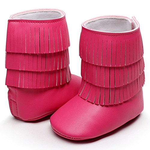 HONGTEYA Baby Moccasins Booties For Girls Toddlers Tassel Fringe PU Leather Infant Shoes (6-12 Months/US 5.5/4.92''/See Size Chart, Hot Pink)