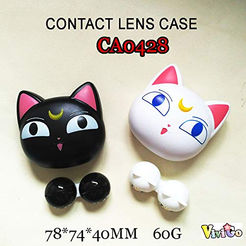 - CA0428 Black and White Sailor Moon cat Contact Lens case 2pcs