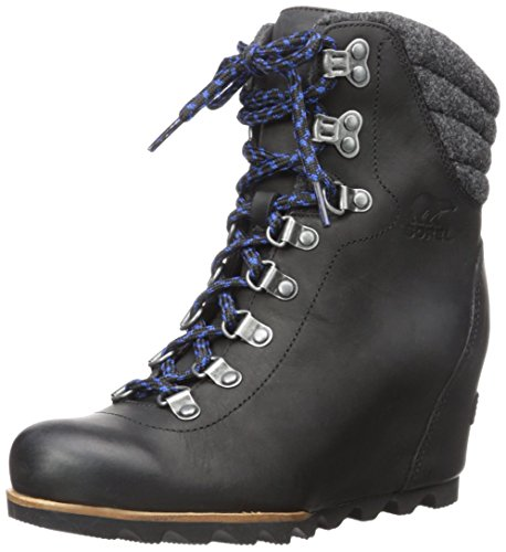 SOREL Women's Conquest Wedge Mid Calf Boot, Black, 8.5 M (Mid Calf Wedge Boots)