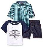 U.S. Polo Assn.. Baby Boys Long Sleeve Woven Shirt, T-Shirt and Short Set, Printed Fine American Clothing Multi Plaid, 12M