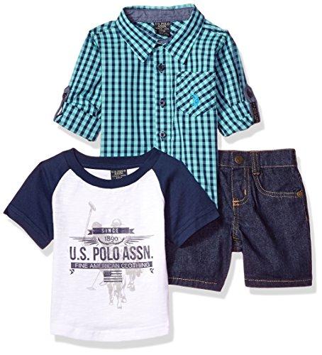 U.S. Polo Assn. - Conjunto de playera de manga larga para bebé, playera y pantalones cortos, Printed Fine American Clothing Multi Plaid, 12 meses